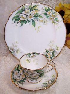 Vintage Royal Albert Orange Blossom Trio Tea Cup Saucer Plate=