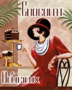 Items similar to French Art Deco Restored Vintage Reproduction Sophisticated Woman in Chocolate Shop Cafe - 8 x 10 or 11 x 14 Print on Etsy Posters Vintage, Art Vintage, Retro Poster, Art Deco Posters, Poster S, Vintage Labels, Vintage Ads, Poster Prints, Art Prints