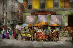 $37 Mike Savad - Colorized Photo from 1906 Location: Broadway St, New York, NY Original Title: Broad St. lunch carts  I wonder how long they've been selling hot dogs? It seems like forever. Lemonade and Hot Dogs for lunch, some brown bag it, others get it from the stands. I wonder if they taste better than our current products? I wonder if they use less snout, or more snout? The buns look home made here. #savad #hotdogStand #newyork
