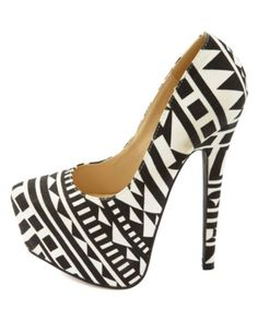 Tribal Print Pointy Toe Platform Pumps: Charlotte Russe