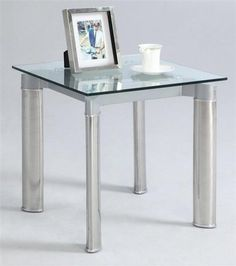 Tara Clear Glass Shiny Stainless Steel Square Lamp Table