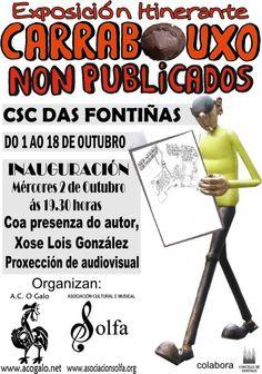 Exposición Itinerante 'Carrabouxo non publicados', entre o 1 e o 18 de outubro no CSC das Fontiñas, con inauguración o día 2 coa presenza do autor e a proxección do audiovisual