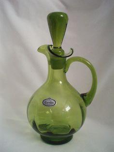 Vintage olive green Cruet Rainbow Blenko w/stopper FREE SHIP  $45.00 OBO