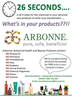 Do you know??  Is it pure, safe and beneficial to you?  You should just TRY Arbonne!  I can get you samples (not all items have samples).  Let me know!