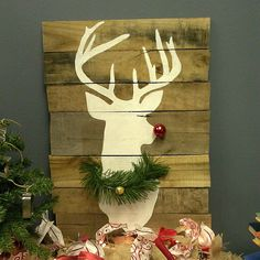 Would make a great rustic decoration if you made it without the nose and wreath! Love it! Cuter then an actual deer head mounted on the wall