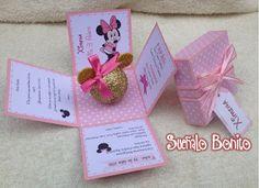 Invitaciones 3 años Niña Pink and Gold  Minnie Mouse