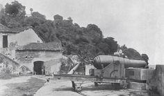 O Forte da Gamboa (Bateria de São Paulo) em fotografia publicada em 1937, no Album da Bahia, 8ª Conferência Rotaria do Distrito 72.