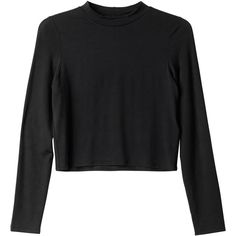 Monki Birgitta top (€6) ❤ liked on Polyvore featuring tops, shirts, long sleeves, sweaters, black magic, cropped long sleeve shirt, long-sleeve crop tops, long sleeve shirts, turtleneck top and turtle neck top