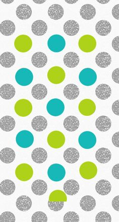 Teal/Lime/Silver polka dots