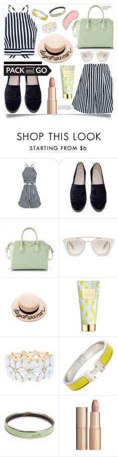 """""""Pack and Go: Labor Day"""" by vickykirkpatrick ❤ liked on Polyvore featuring Chanel, Givenchy, Prada, Eugenia Kim, AERIN, Charlotte Russe, Hermès, Charlotte Tilbury and NYX"""