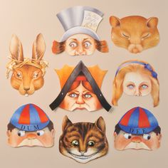 A set of eight attractive Alice in Wonderland masks. Includes masks of Alice, the Cheshire Cat, the March Hare, the Dormouse, the Mad Hatter, Tweedledum and Tweedledee, and the Queen of Hearts. www.mamelok.com / facebook.com/MamelokPapercraft