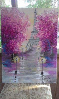 Eiffel Tower in Acrylic on 16x20 Canvas. Jessika Rose 2015. (Unavailable) #LampDrawing