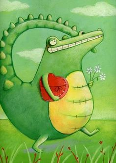 daria petrilli Bird Wings, Alligators, Wonderful Picture, Weird Art, Children's Book Illustration, Whimsical Art, Lizards, Snakes, Cute Art