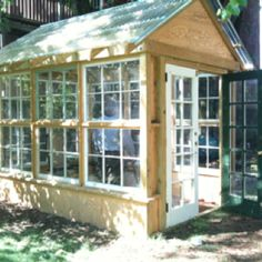Replacement window greenhouse I want to build Old Window Greenhouse, Simple Greenhouse, Outdoor Greenhouse, Greenhouse Plants, Build A Greenhouse, Greenhouse Ideas, Stardew Valley Greenhouse, Tropical Greenhouses, Greenhouse Interiors