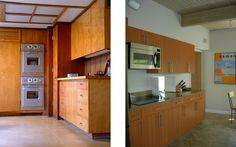 love this matte steel with the wood cabinets on the left...wonder if we could re-face the oven in the wall...