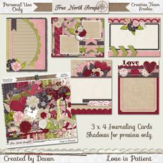 FREE Love is Patient 3 x 4 Journaling Cards from True North Scraps