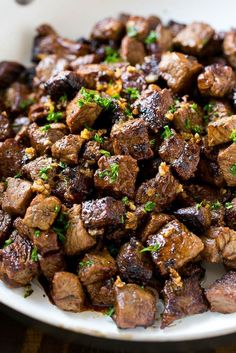 These seared steak bites are cubes of sirloin steak cooked to perfection in a garlic butter sauce. Cubed Steak Recipes Easy, Leftover Steak Recipes, Sirloin Steak Recipes, Grilled Steak Recipes, Meat Recipes, Cooking Recipes, Healthy Recipes, Dinner Recipes, Recipes With Beef Cubes