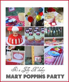 Mary Poppins Theme - Beautiful work once again from Craftiness Is Not Optional from cake, to birthday girl dress, to games, to simple food ideas, to dessert table, decorations and favours bags.