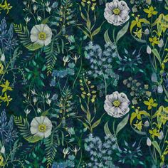 I love this satin cotton fabric from Designers Guild! It's floral pattern is a mix of blue, jade, green, yellow and white. Fritillaria Malachite.