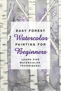 Easy Forest Watercolor Painting for Beginners Learn watercolor techniques Watercolor Painting Techniques, Watercolor Projects, Watercolor Tips, Watercolour Tutorials, Painting Lessons, Watercolor Landscape Tutorial, Watercolor Art Lessons, Painting Tips, Watercolor Paper