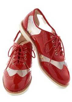 Rachel Antonoff for Bass New Orleans Attitude Shoe in Red, #ModCloth ...I'd be making a statement while I'm swing dancing with these on :)