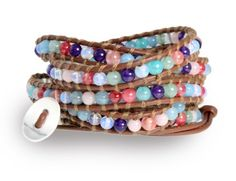Blue Moon Gemstone Wrap Bracelet with Moonstone and Blue, Purple, Coral, Pink and Aqua Agate Beads on Genuine Brown Leather, 5x Extra Long W...