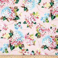 Designed for Michael Miller Fabrics, this cotton print fabric is perfect for quilting, apparel and home decor accents. Colors include light blue, pink, green, black, pale yellow and a light pink background.