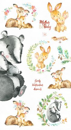 Mother And Baby. by StarJam on Creative Market - Mareike - Mother And Baby. by StarJam on Creative Market Mother And Baby. by StarJam on Creative Market - Baby Illustration, Watercolor Illustration, Illustrations, Animal Drawings, Cute Drawings, Lama Animal, Mother And Baby Animals, Animal Art Projects, Baby Wallpaper