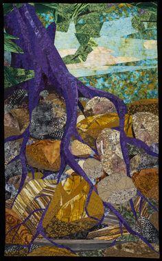 Roots Run Deep by Linda Beach (Fiber Wall Hanging) Tree Quilt, Quilt Art, Art Quilting, Quilting Ideas, Landscape Art Quilts, Landscapes, Beach Quilt, Quilted Wall Hangings, Tree Art