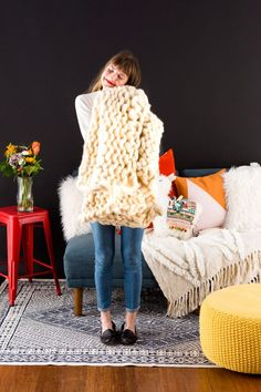 Hand Knit the Coziest Hygge Blanket EVER, With Zero Knitting Experience via Brit + Co