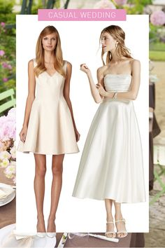 Champagne Fit-and-Flare Dress, ERIN FETHERSTON, $355; Satin Tea-Length Dress, DAVID'S BRIDAL COLLECTION, $349   - Cosmopolitan.com