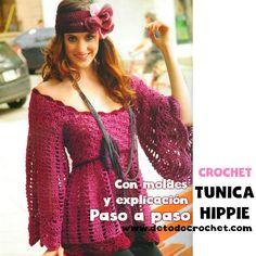 Túnica Hippie para tejer al crochet / Paso a paso | Todo crochet