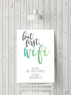 Wifi Password Wall Art Prints - watercolor typography art print for your office or guest room by Amistyle Art Studio on Etsy