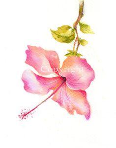 Flower, flower art, fine art giclee print, Watercolor print, watercolor, pastel, abstract, hibiscus, Original painting, watercolor print