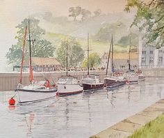 The River Dart at Totnes watercolour painting by Edward Girard millmansholidaycottages.co.uk Watercolour Painting, Paintings, River, Art, Paint, Painting Art, Kunst, Draw, Painting