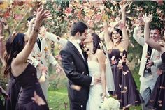 Autumn Wedding, throw leaves