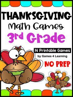 NO PREP Thanksgiving Math Games for Third Grade with Turkeys, Pumpkins and Thanksgiving Activities For Kids, Thanksgiving Math, Math Board Games, Fun Games, Fun Math, Math Activities, Printable Math Games, Math Concepts, Homeschool Math