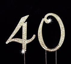 40th Birthday / Wedding Anniversary Number Cake Topper with Sparkling Rhinestone Crystals - 2.75 -- See this awesome image @ : baking decorations