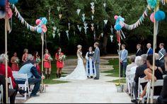 Colorful Texas Wedding at Mercury Hall « Southern Weddings Magazine Southern Weddings, Real Weddings, Wedding Events, Wedding Ceremony, Backyard Carnival, Dog Wedding, Ceremony Decorations, Garden Decorations, Wedding Paper
