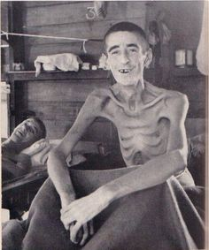 This is John Sharp of Leicester, England; one of the few POWs of the WW2 to survive such extreme treatment under the Japanese Occupation. Sharp was captured while attempting to escape when being used as slave labour on the Burma-Siam railway. His punishment for being caught was being tortured for three years and two weeks in a Singapore gaol, where he spent twelve months in solitary confinement with little to no food.