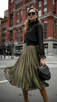 Your Holiday Season MVP //  Sheer mock neck long-sleeve blouse with Swiss-dot detailing, pleated metallic midi skirt, black leather waist belt, black leather structured mini hand bag, cat eye sunglasses and black strappy Mary Jane pumps {Hobbs London, Aqua, Gucci, M2Malletier, Jimmy Choo, holiday style, festive dressing, Christmas 2017, what to wear during the holidays, street style, sparkle, metallics, midi skirt, winter style, wear to work, office style, fashion blogger}