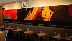 Illustration by Josh Holinaty. Local Magazine, Murals Street Art, Calgary, Restaurant Bar, Interior And Exterior, Pizza, Wine, Foodies, Restaurants