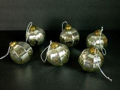 Mercury Look Glass Ornaments Christmas Restoration Hardware Silver Vtg Style C #RestorationHardware