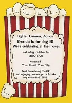 Popcorn and movies Movie Night Party Ideas Night parties Popcorn