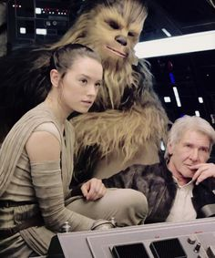 Daisy Ridley, Harrison Ford and Peter Mayhew