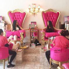 Getting a mani/pedi with your BFF @iman.lopez 💅🏻 Nail Salon Decor, Beauty Salon Decor, Beauty Salon Interior, Hair And Beauty Salon, Beauty Bar, American Girl Storage, Luxury Nail Salon, Kids Salon, Nail Store