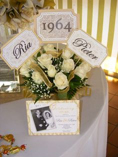 ideas about Anniversary Centerpieces 50th Wedding Anniversary Decorations, Wedding Anniversary Celebration, Anniversary Ideas, Golden Anniversary, 50th Anniversary Invitations, 50th Anniversary Gifts, Wedding Invitations, Anniversary Flowers, Parents Anniversary