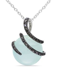 Black Diamond & Blue Chalcedony Circle Pendant Necklace | Daily deals for moms, babies and kids