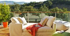 Sunbrella Fabrics (BHG recommends this outdoor fabric b/c it's made now for indoors & easy maintenance to withstand wear and tear)