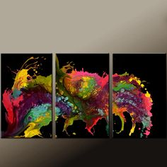 Abstract Canvas Art Painting 72x36 3pc Contemporary Original by Destiny Womack - dWo - Untamed